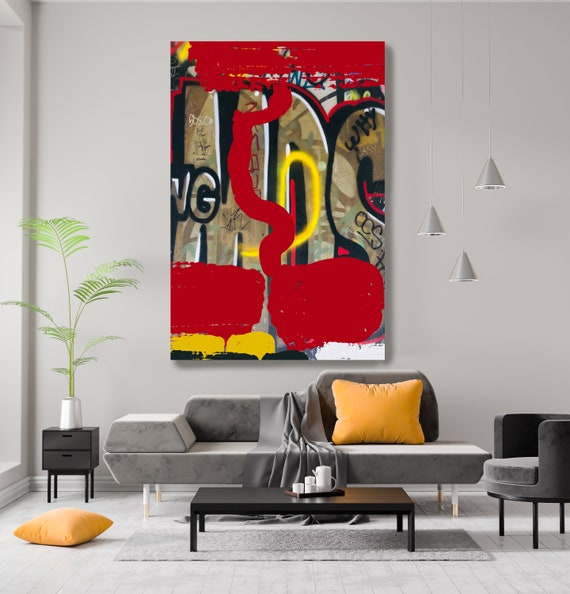 Graffiti Art, Street Art, Red Street Art Painting Print on Canvas, Large Canvas Print, Urban Canvas Print, Telling the stories