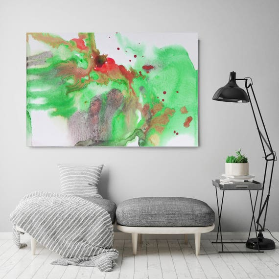 """Watercolor Coastal Abstract 52. Contemporary Abstract Green Red Canvas Art Print up to 72"""", Watercolor Painting Print by Irena Orlov"""