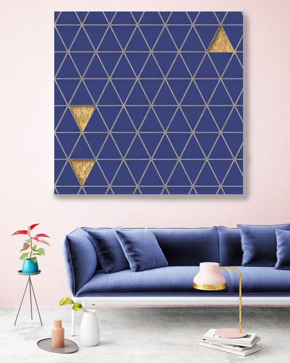 Gold And Blue Wall Art, Industrial Artwork, Geometric Wall Art, Industrial Art Print, Industrial Art, Triangle Canvas Art,Modern Canvas Art