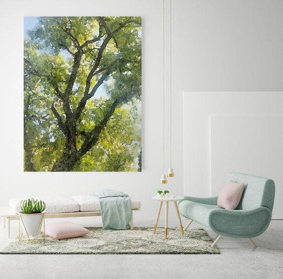 Summer Green Tree landscape painting, watercolor Landscape Painting Canvas Print Landscape Art, Landscape Painting Print Fine Art Scene