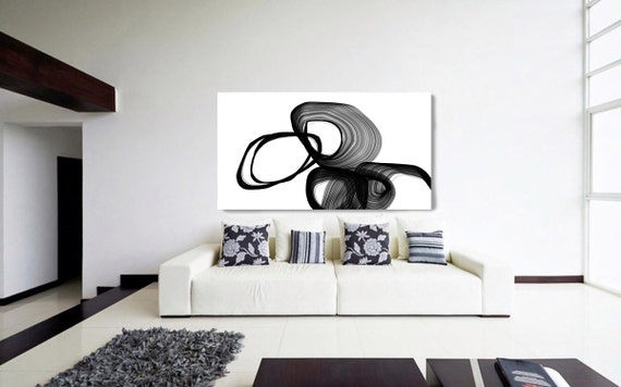 "Abstract Expressionism in Black And White 7. Unique Abstract Wall Decor, Large Contemporary Canvas Art Print up to 72"" by Irena Orlov"