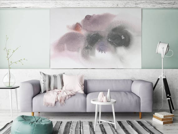 "Pastel Spring. Pink Abstract Paintings Art, Extra Large Abstract Pink Gray Contemporary Canvas Art Print up to 72"" by Irena Orlov"