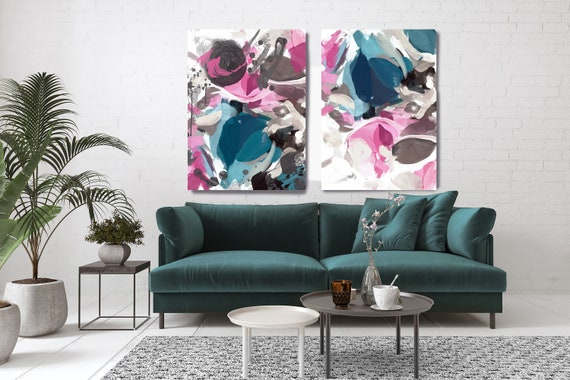 Teal Pink Abstract Painting, Pink Teal Abstract Artwork, Abstract Painting, Abstract Canvas Print, Oversized Art, Abstract Tornado -2 piece