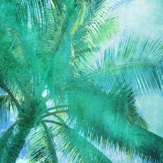 Green Lines. Palm Trees, tropical canvas print by Irena Orlov