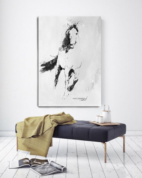 Wild Running Horse 2. Extra Large Contemporary Horse Black and White Canvas Original Oil/Acrylic Art. Horse BW Original Art by Irena Orlov