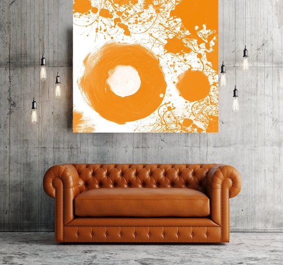 "Orange. Geometrical Abstract Art, Wall Decor, Extra Large Abstract Colorful Contemporary Canvas Art Print up to 48"" by Irena Orlov"