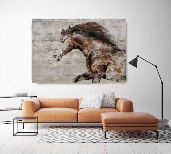 WILD HORSE RUNNING. Horse Art Large Canvas, Brown Rustic Horse, Canvas Print, Horse Painting, Horse Wall Art, Equestrian Art