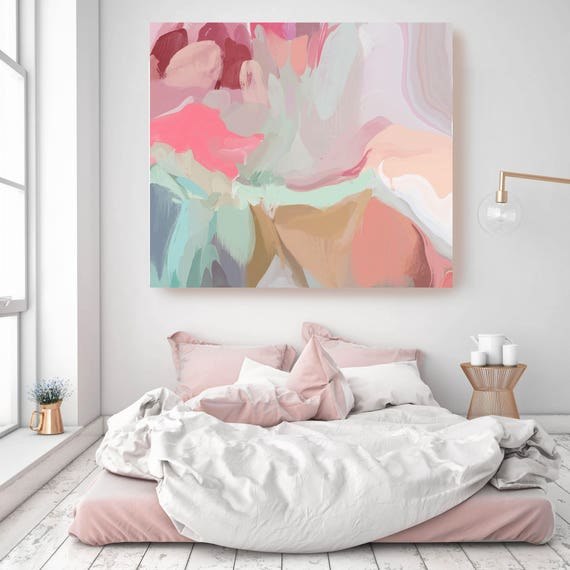 """Blush Pink and Mint Green Abstract Art. ORIGINAL LARGE Abstract Painting, Custom Extra Large Oil Painting up to 50"""" by Irena Orlov"""
