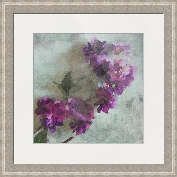 "Purple Rustic Flowers. up to 34"", Large Framed Floral Fine Art Print, Home Decor Collectible Art Print by Irena Orlov, Floral Art Decor"