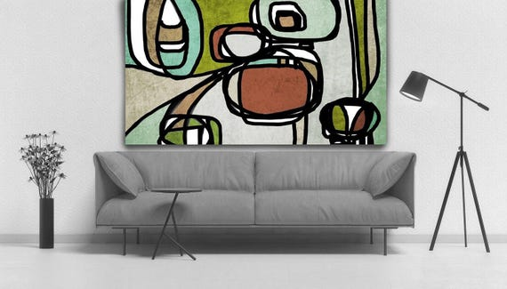 ORL-6826 Vibrant Colorful Abstract-0-1-1, Contemporary Oil on Canvas, Midcentury Modern Brown Green Original Painting by Irena Orlov