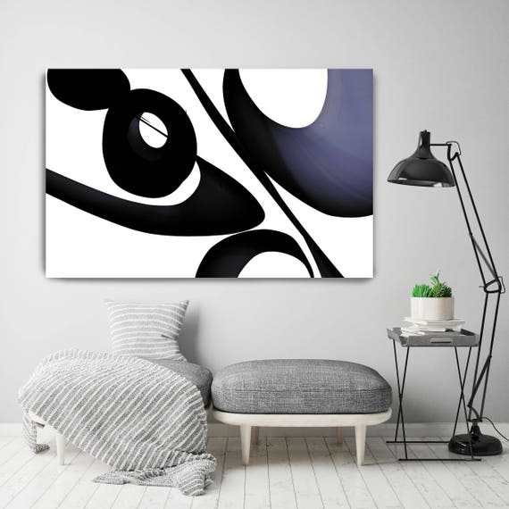 "Mid Century Abstract 1. Mid-Century Modern Black Blue Canvas Art Print, Mid Century Modern Canvas Art Print up to 72"" by Irena Orlov"