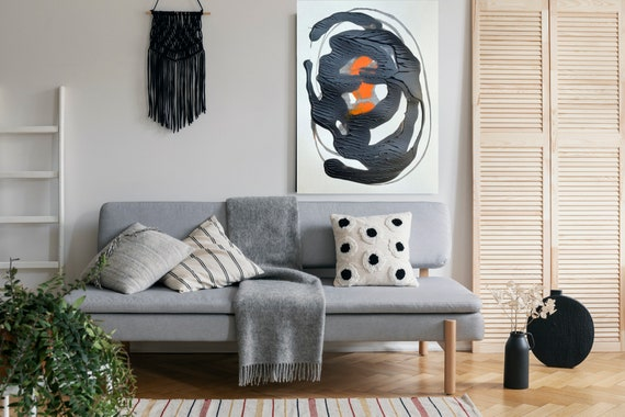 Potential, Black Orange Abstract Painting Modern Art Abstract Painting Extra Large Painting Extra Large Abstract Canvas Print, Minimalist