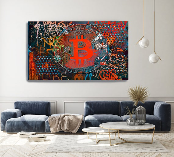 Bitcoin Blue Red Graffiti Abstract Canvas, Cryptocurrency Bitcoin Graffiti, Art Painting Print on Canvas, Bitcoin Artwork Canvas Print