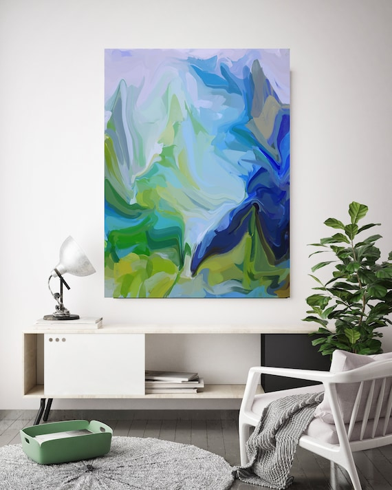 Ultramarine and Green Sea 2, Green Blue Abstract Painting, Abstract Painting, Contemporary Art, Hand Painted extra large canvas print