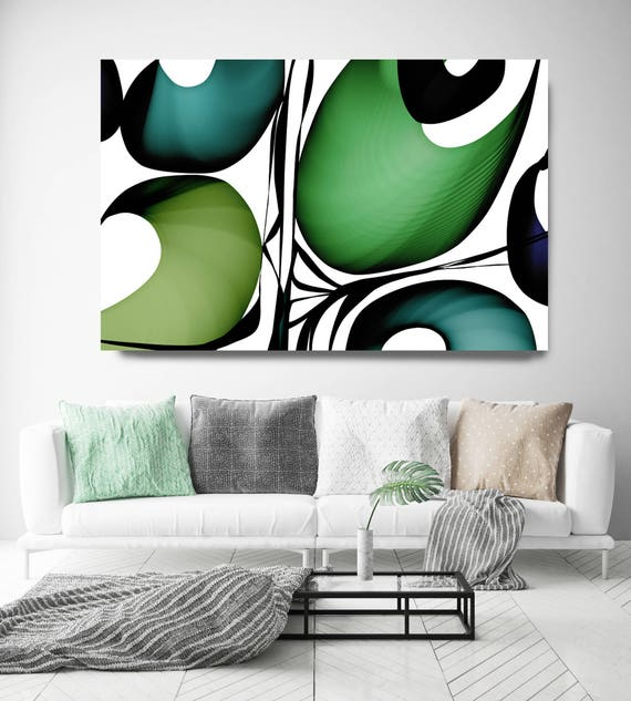"Mid Century Abstract 22. Mid-Century Modern Green Black Canvas Art Print, Mid Century Modern Canvas Art Print up to 72"" by Irena Orlov"