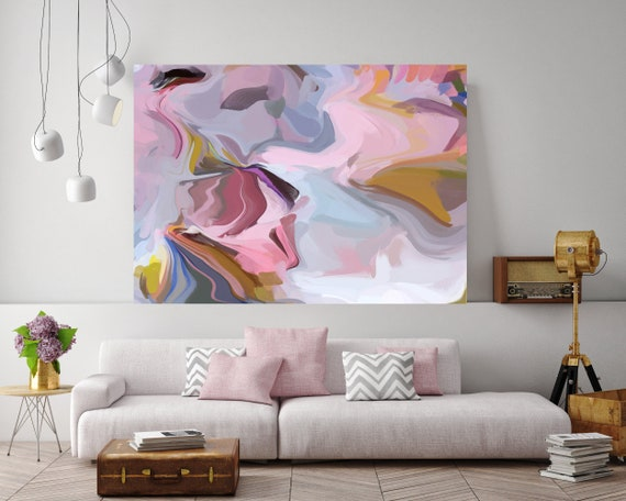 Pink field, Original Pink Abstract painting canvas art flow painting blush pink abstract acrylic painting textured art canvas art print