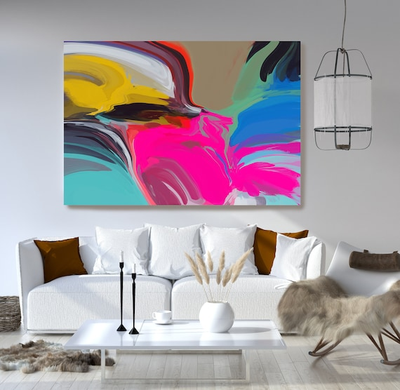 Bohemian Large Abstract Art, Colorful Art, Abstract Canvas Print Large Modern Abstract Wall Art, Abstract Painting, Mysteries of Afternoon