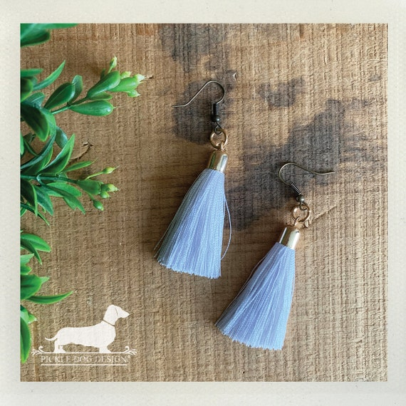 White Tassel. Dangle Earrings