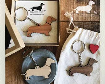 Doxie. Keychain -- (Dachshund, Wood, Key Ring, Vintage-Style, Sausage Dog, Wiener Dog, Choose Your Color, Birthday Gift, Year of the Dog)