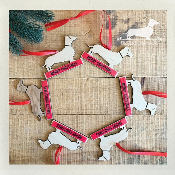 Merry Christmas Doxie. Wood Ornament