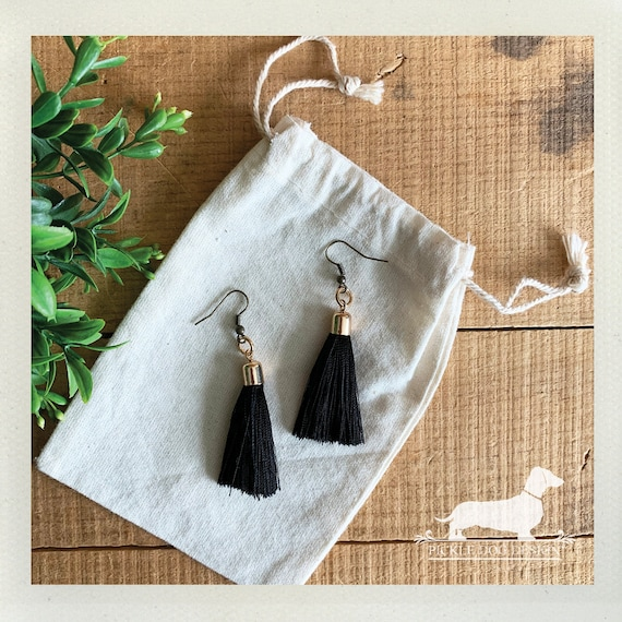 Black Tassel. Dangle Earrings