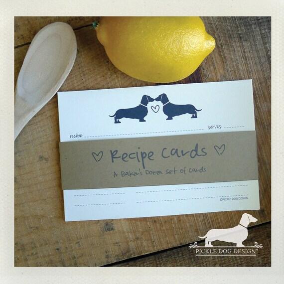 Doxie Love. A Baker's Dozen (Qty 13) Set of Recipe Cards
