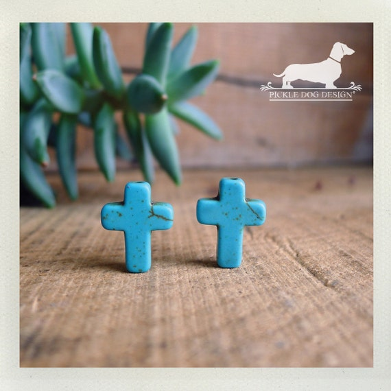 DOLLAR DEAL! Crossed. Post Earrings -- (Vintage-Style, Cross, Western, Turquoise, Simple, Small, Cute, Blue, Teal, Christian, Gift Under 5)
