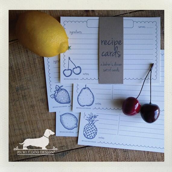 Vintage Fruit. A Baker's Dozen (Qty 13) Set of Recipe Cards