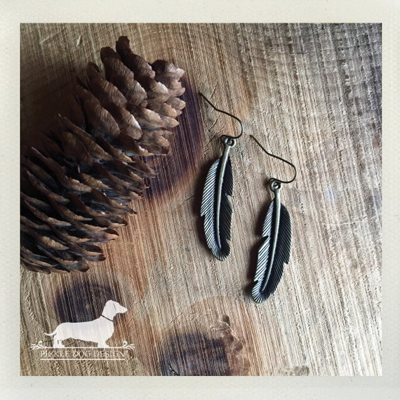 Boho Feather. Dangle Earrings