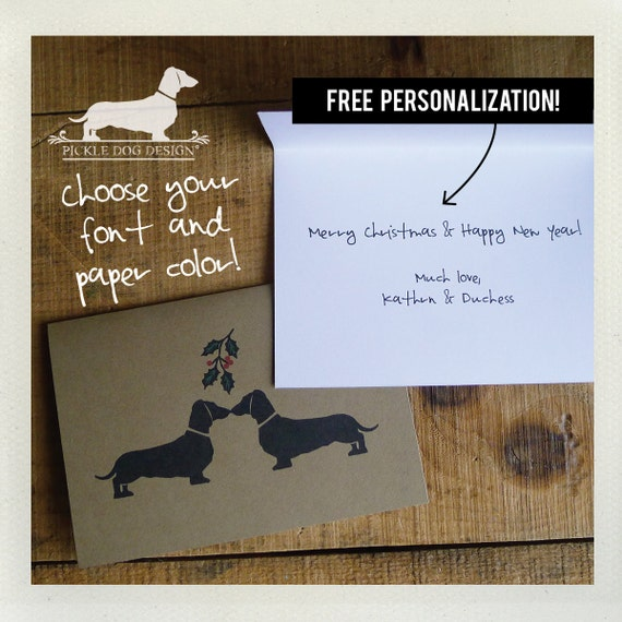 Mistletoe Doxies. Personalized Note Cards