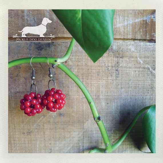 DOLLAR DEAL! Berry Cluster. Dangle Earrings
