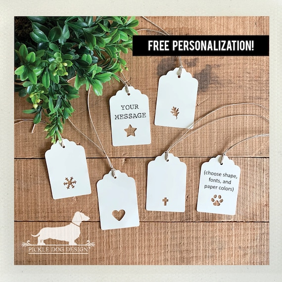 Choose Your Shape. Single Layer Personalized Gift Tags (Set of 12)
