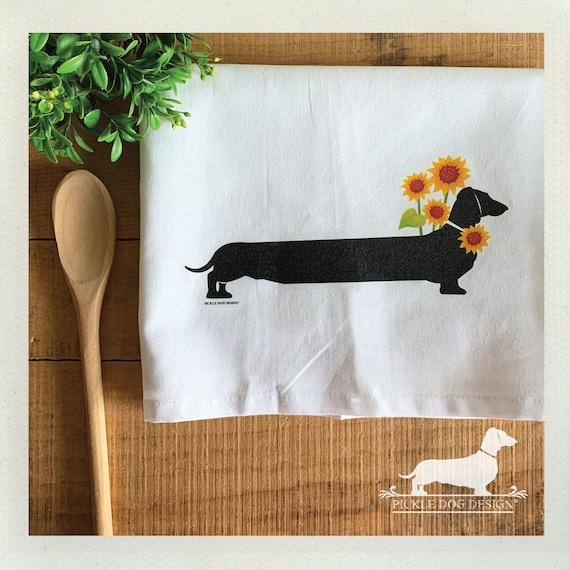 Sunflower Doxie. Decorative Tea Towel