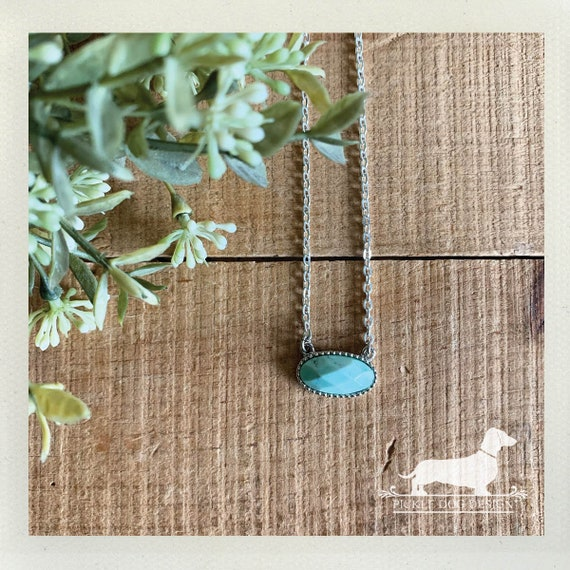Mint. Necklace -- (Vintage-Style, Simple, Modern, Minimalist, Turquoise, Bridesmaid Gift, Stone Necklace, Christmas Gift For Her Under 20)