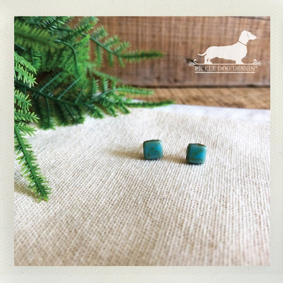 DOLLAR DEAL! Seafoam Squares. Post Earrings