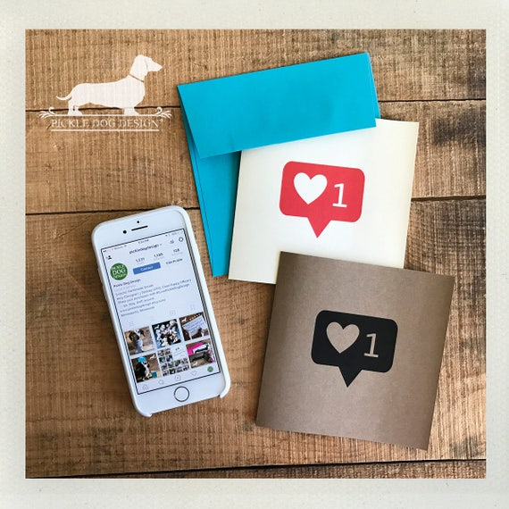 I Heart You. Note Card -- (Instagram Card, Funny, Humorous, Geeky, Wedding, Friendship, I Love You, Heart, Choose Your Color, Social Media)
