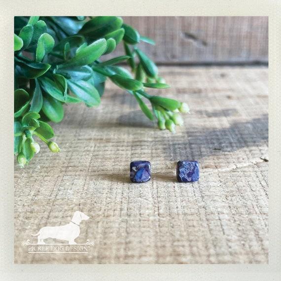 DOLLAR DEAL! Mini Jasper Squares. Post Earrings