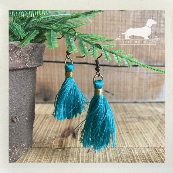 Turquoise Tassel. Dangle Earrings