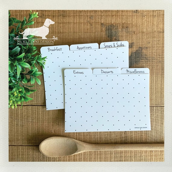 DOLLAR DEAL! 4x6 Polka Dot Recipe Divider Cards