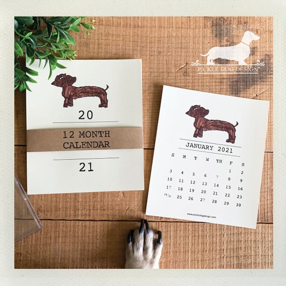 Brown Doxie. 2021 Desktop Calendar