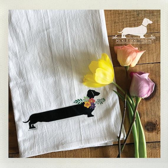 Floral Doxie. Tea Towel