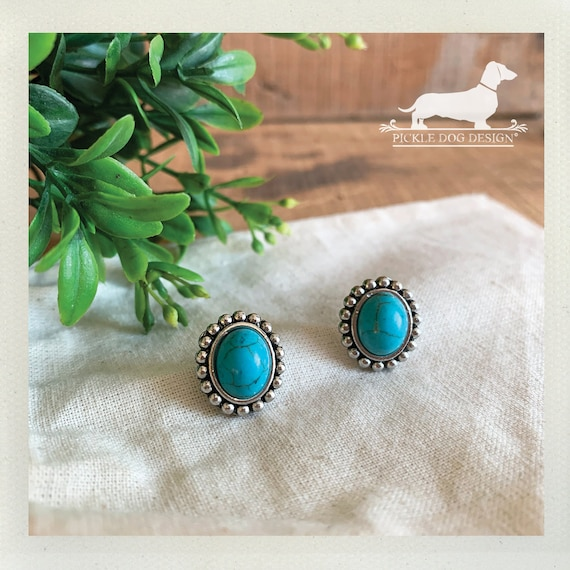 Encircled Turquoise. Post Earrings
