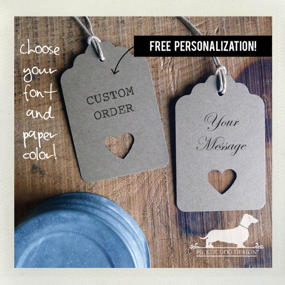 Natural Open Heart. Personalized Gift Tags (Set of 12)