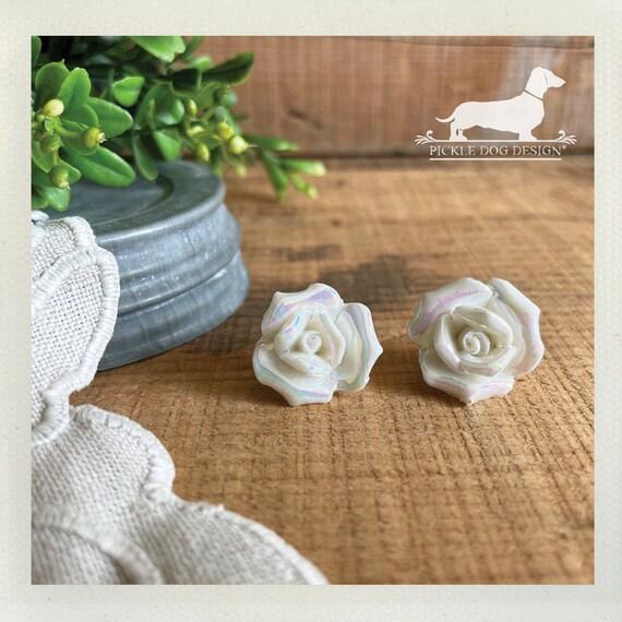 DOLLAR DEAL! Bridal Rose. Large Rosebud Post Earrings