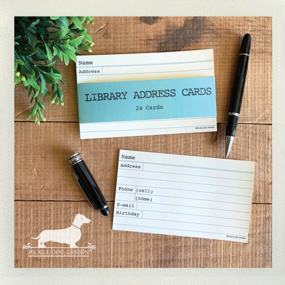 Library Address Cards. Set of 24 Cards