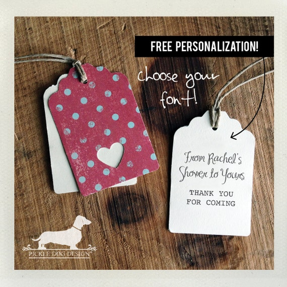 Polka Heart. Personalized Gift Tags (Set of 12)