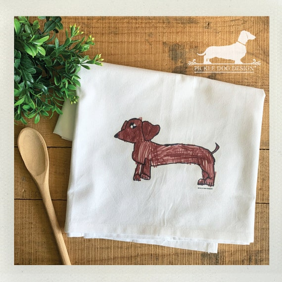 Doxie Drawing. Tea Towel