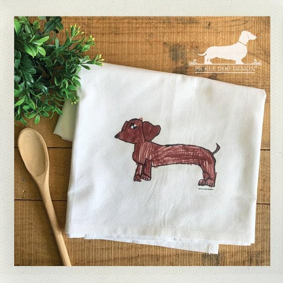 Doxie Drawing. Decorative Tea Towel