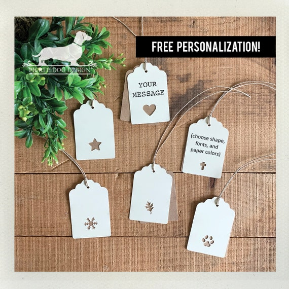 Choose Your Shape. Double Layer Personalized Gift Tags (Set of 12)