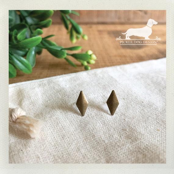 DOLLAR DEAL! Rustic Diamond. Post Earrings